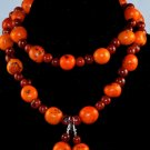 Handmade Orange and Brown Beaded Sassy Necklace & Earrings Set