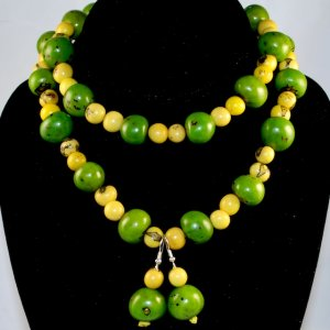 Handmade Bright Green and Lemon Yellow Beaded Necklace & Earrings Sets