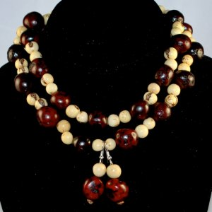 Handmade Ivory Cream and Chocolate Brown Seeds Beaded Necklace & Earrings Set