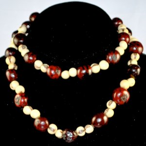 Handmade Chocolate Brown and Ivory Cream Beaded Necklace