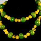 Handmade Lime Green & Lemon Yellow Seeds Beaded Necklace