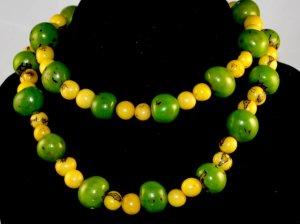 Handmade Lime Green & Lemon Yellow Seeds Beaded Necklace
