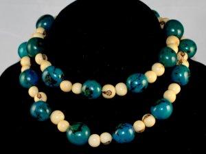 Handmade Turquoise Ivory Cream Seeds Beaded Sassy Necklace