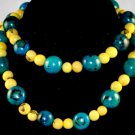 Handmade Turquoise & Lemon Yellow Beaded Fashion Necklace