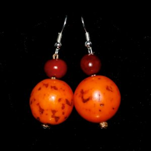 Handmade Orange and Chocolate Brown Seeds Beaded Earrings
