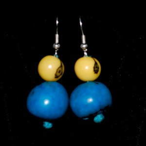 Handmade Turquoise and Lemon Yellow Beaded Earrings