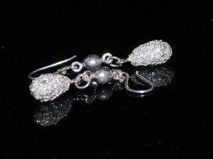 Sterling Silver Teardrop Filigree Crocheted Earrings