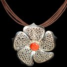 Sterling Silver Elegant Filigree Flower Necklace