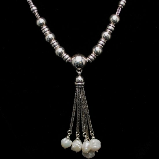 Sterling Silver With White Water Pearls Necklace