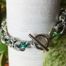 Green and Silver Byzantine Chainmaille Bracelet