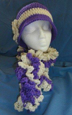 Soft Lavender Handmade Cloche Flapper Hat Boa Scarf New