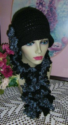 Two Cloche Hats and Boa in Black and Grey Cloche Hats and Scarf Set Ensemble