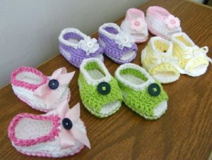Open-Toe Peek-A-Boo Baby Sandals Crochet Soft Cotton Shoes