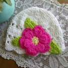 Cotton Beanie Child Cloche Flower Trim