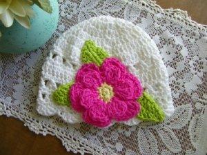 Cotton Beanie Child Cloche Flower Trim