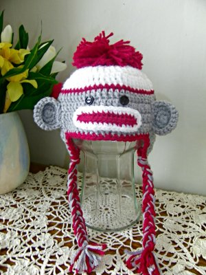 Sock Monkey Hat For Toddler Handmade Warm Wool Winter Hat