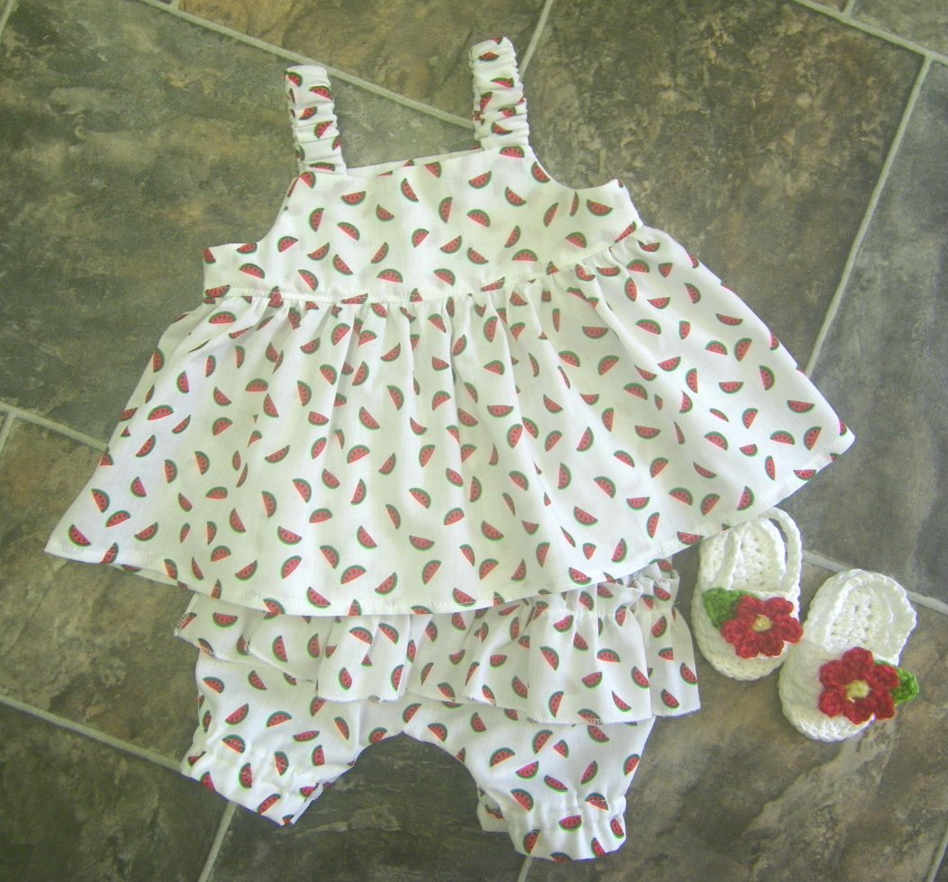 Baby Dress and Diaper Cover Sandals Summer Dress Diaper Cover Cotton Sandals