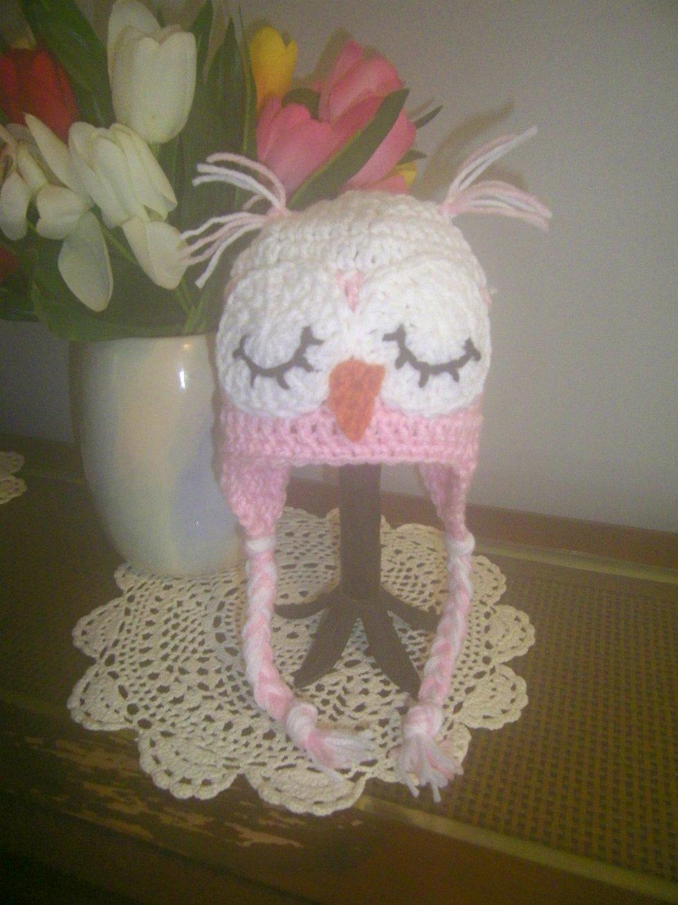 Sleepy Owl Hat Crocheted Hat Winter Hat Baby Size Braid Ties