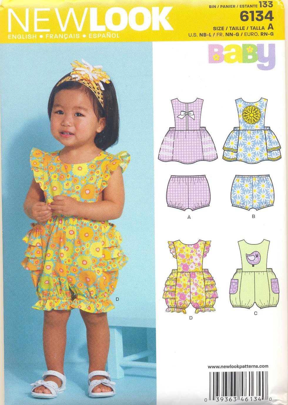 Girls Pattern Baby 4 Sizes Dress Bloomers Rompers New Look 6134 Summer Clothes