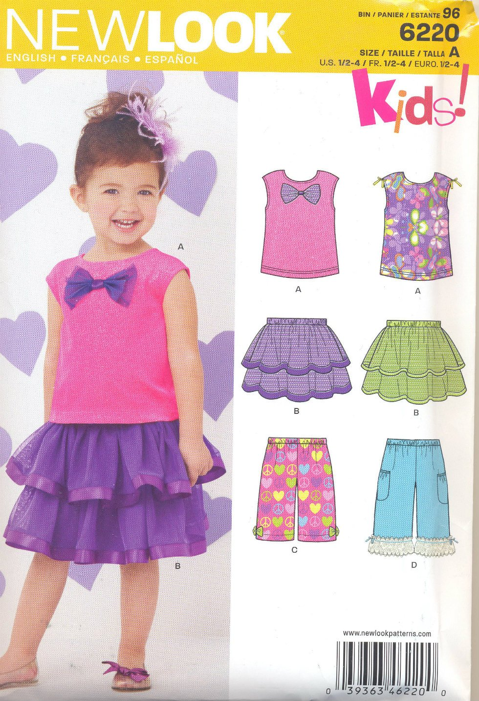 Girls Pattern Toddler 5 Sizes Top Skirt Clamdiggers New Look 6220 Summer Clothes