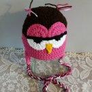 Owl Hat Childs Handmade Owl Hat Winter Owl Hat Braided Ties Ear Flaps