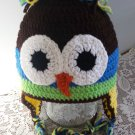 Owl Hat Childs Handmade Owl Hat Winter Owl Hat Braided Ties Ear Flaps