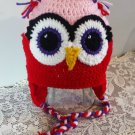 Owl Hat Childs Handmade Owl Hat Winter Owl Hat Braided Ties Ear Flaps Adult