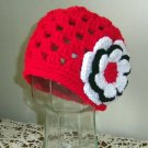 Toddler Crocheted Hat Winter Hat Baby Size Flower Trim Red Black White