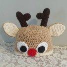 Toddler Crocheted Hat Reindeer Winter Hat Baby Size