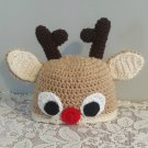 Toddler Crocheted Hat Reindeer Winter Hat Toddler Size