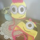 Minion Hat Earflaps Braided Ties Girls Outdoor Sportswear Character Hat Two Eyes