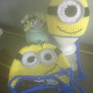 Minion Hat Earflaps Braided Ties Boys Outdoor Sportswear Character Hat Two Eyes