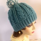 Hat Winter Hat Crocheted Handmade Winter Hat Women Pompom Cable Design
