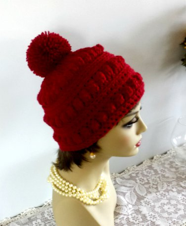 9d19fa9bb6487 Hat Winter Hat Crocheted Handmade Winter Hat Women Pompom ...