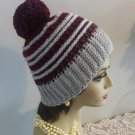 Hat Winter Hat Crocheted Handmade Winter Hat Women Pompom Textured Design