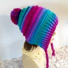 Winter Hat Crocheted Handmade Slouch Winter Hat Womens Hood Ties Pompom