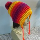 Winter Hat Crocheted Handmade Slouch Winter Hat Women Hood Ties Pompom