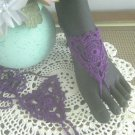 Barefoot Sandals Cotton Crochet Foot Jewellry Beachwear Purple