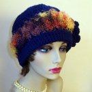 New Cloche Beanie Hat Warm Winter Crochet Flower Trim