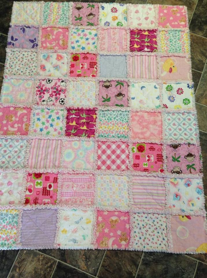 Baby Raggedy Quilt Baby Girls Blanket Baby Quilt Bedding FREE SHPG