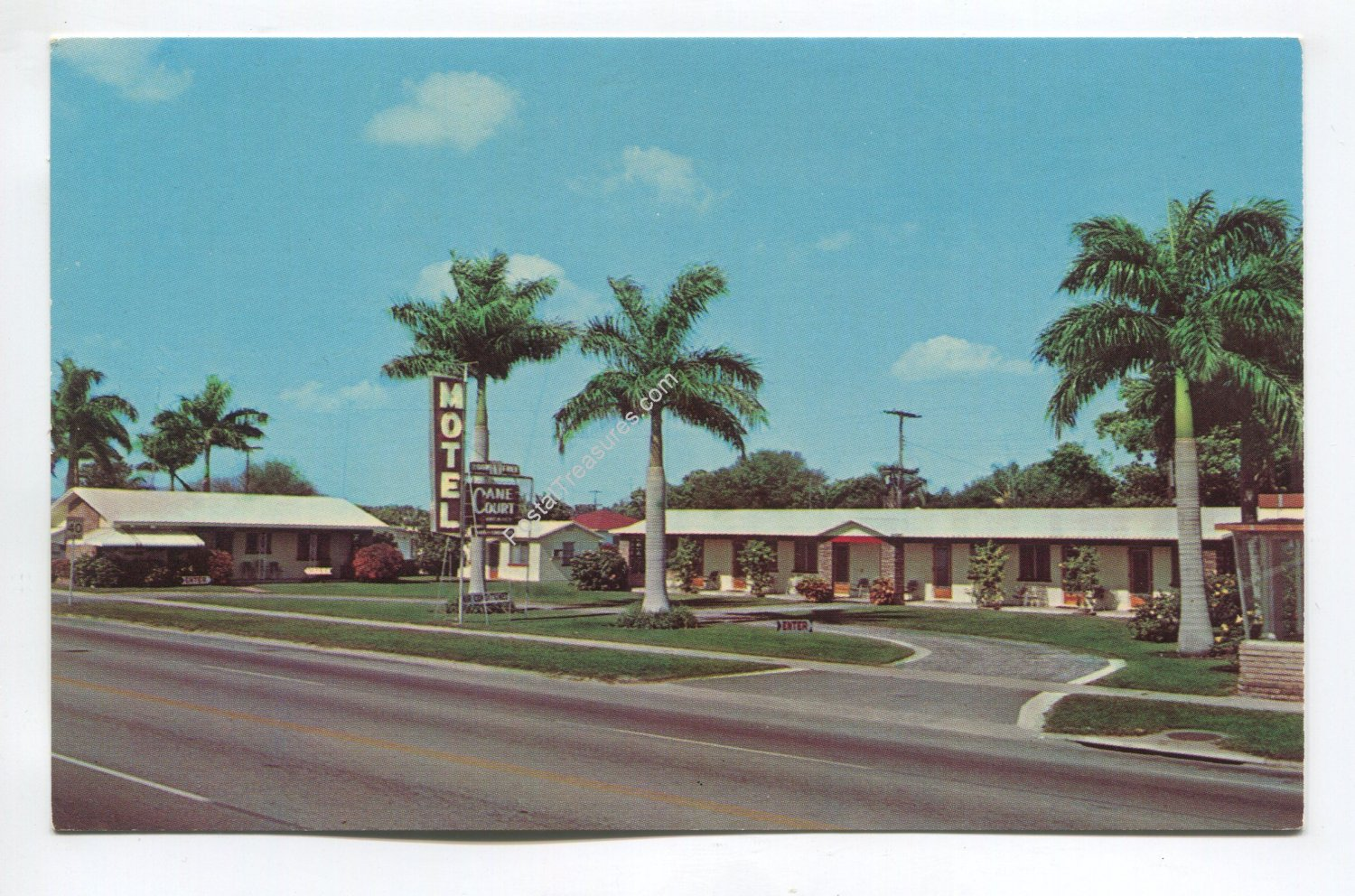 Cane Court Motel Clewiston Florida Postcard