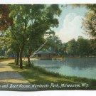 Lagoon and Boat House Humbolt Park Milwaukee Wisconsin Postcard