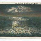 Moonlight on the Atlantic Ocean Atlantic City New Jersey Postcard