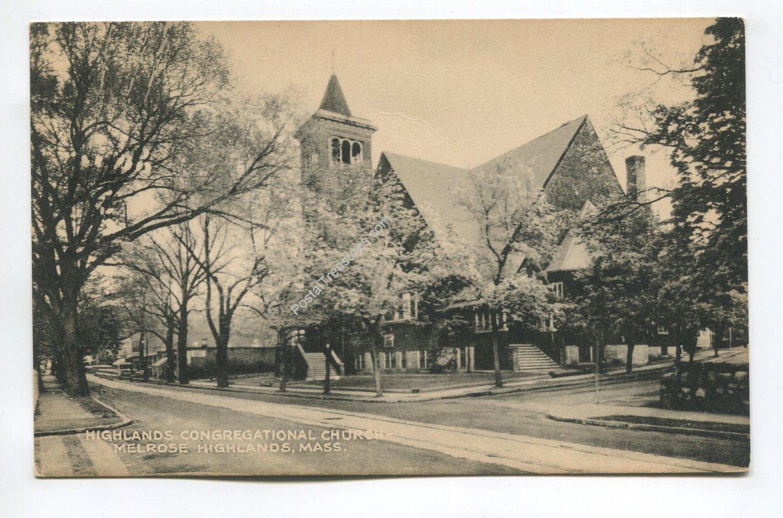 Highlands Congregational Church Melrose Highlands Massachusetts Postcard