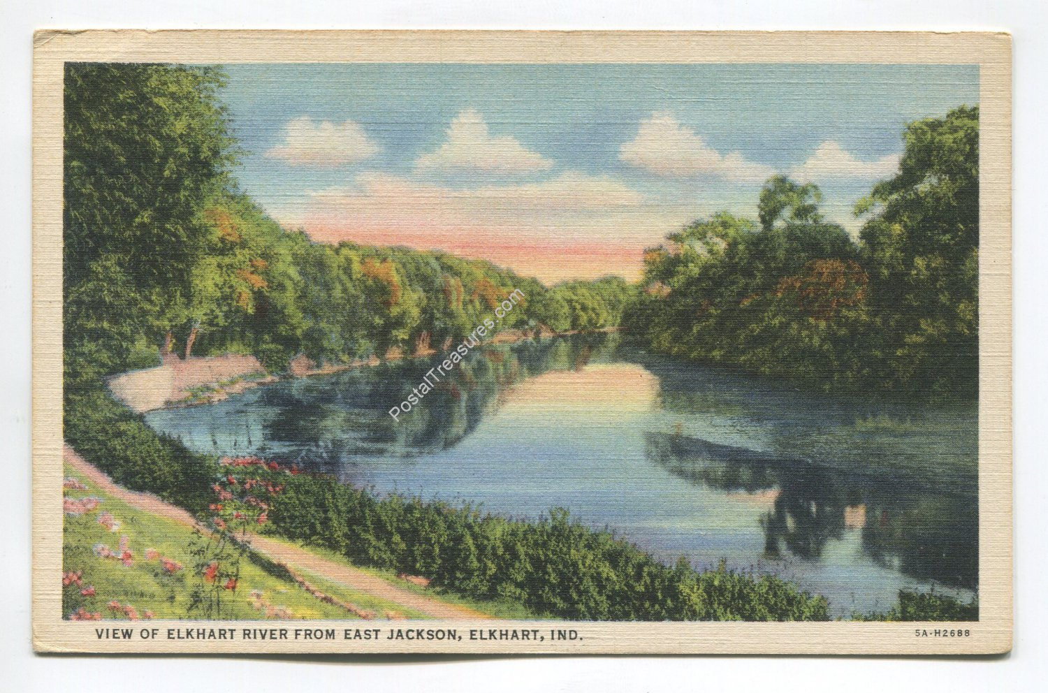 View of Elkhart River from East Jackson Elkhart Indiana Postcard
