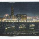 Night Scene Terminal Area in Heart of Cleveland Ohio Postcard