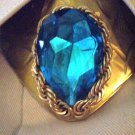#MA006 - Teal Swarovski Crystal Metal Ascott Button Cover for Men