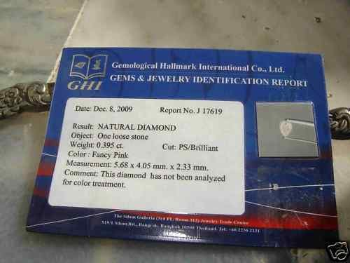 NAT-FANCY PINK DIAMOND,0.395CTWSIZE,PEARS,GHI CERTIFIED