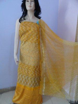 PAKAPPAREL : Embroidered Tissue/Net Salwar Shalwar Kameez- C10-167-3
