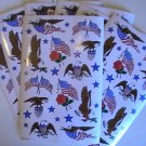 American Eagles & Flags-Red, White & Blue Stickers (5 Sh)